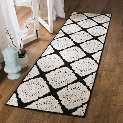 Mannox Black/Cream Indoor/Outdoor Area Rug Rug Size: Runner 23 x 8