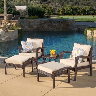 Springboro 5 Piece Deep Seating Group with Cushions Fabric: Brown