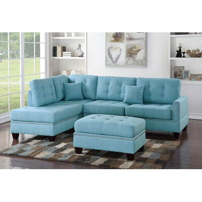 Romulus Sectional with Ottoman Upholstery: Light Blue