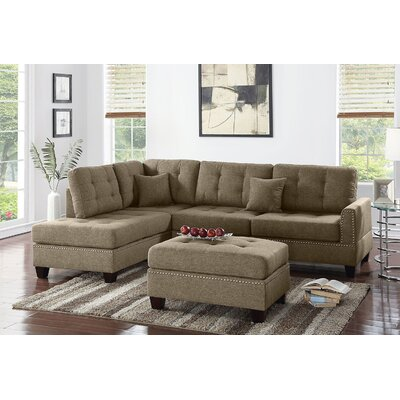 Romulus Sectional with Ottoman Upholstery: Coffee