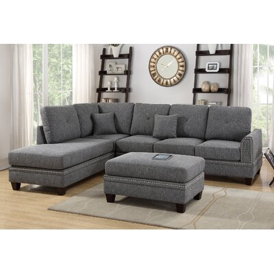 David Reversible Sectional with Ottoman Upholstery: Ash Black