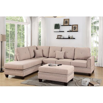 David Reversible Sectional with Ottoman Upholstery: Coffee