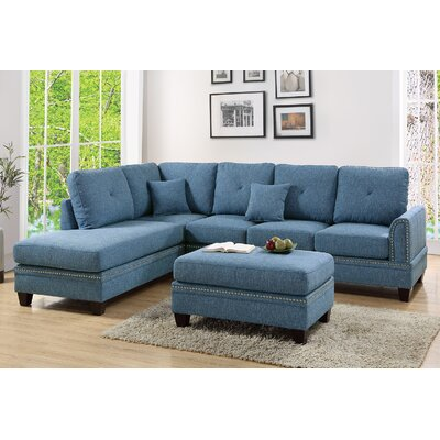 David Reversible Sectional with Ottoman Upholstery: Blue