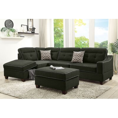 Sarah Reversible Sectional with Ottoman Upholstery: Ash Black