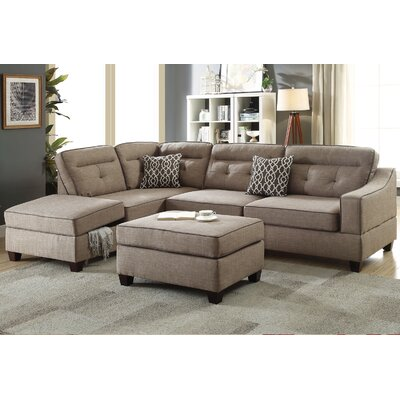 Sarah Reversible Sectional with Ottoman Upholstery: Mocha