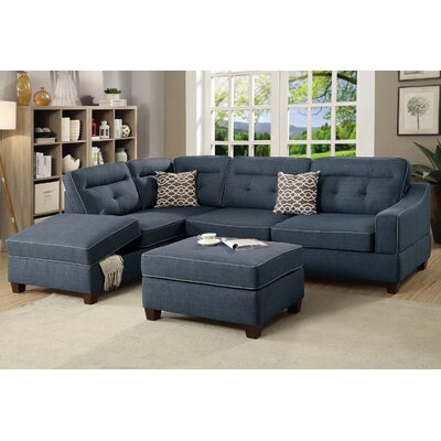 Sarah Reversible Sectional with Ottoman Upholstery: Dark Blue