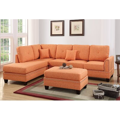 David Reversible Sectional with Ottoman Upholstery: Citrus