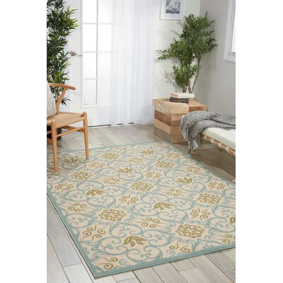 Carleton Ivory/Blue Indoor/Outdoor Area Rug Rug Size: Rectangle 53 x 75