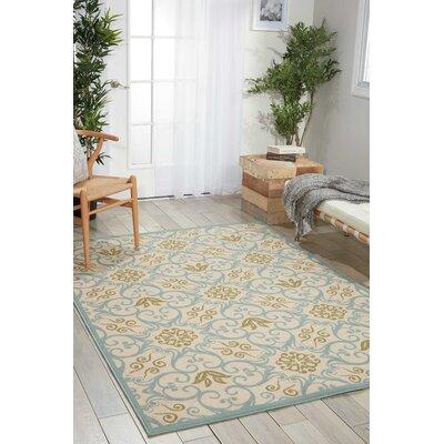 Carleton Ivory/Blue Indoor/Outdoor Area Rug Rug Size: Rectangle 53 x 75