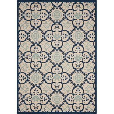 Carleton Ivory/Navy Indoor/Outdoor Area Rug Rug Size: Rectangle 26 x 4