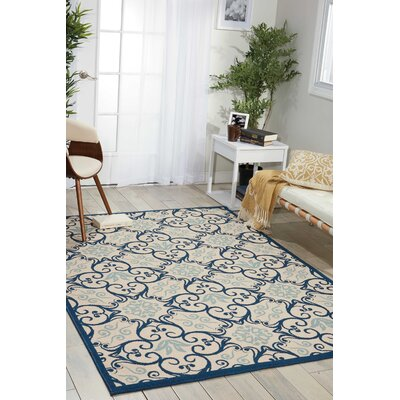 Carleton Ivory/Navy Indoor/Outdoor Area Rug Rug Size: Rectangle 53 x 75