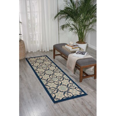 Carleton Ivory/Navy Indoor/Outdoor Area Rug Rug Size: Rectangle 23 x 76