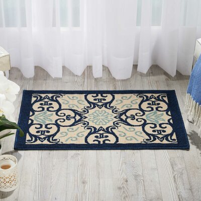 Carleton Ivory/Navy Indoor/Outdoor Area Rug Rug Size: Rectangle 19 x 29