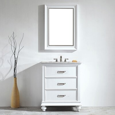 Vaughn 30 Single Vanity Set with Mirror Base Finish: White