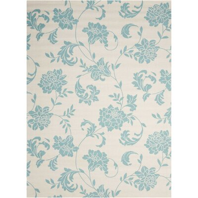 Sigel Blue/Ivory Indoor/Outdoor Area Rug Rug Size: Rectangle 53 x 75