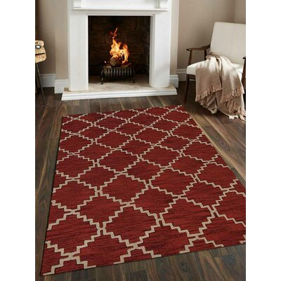 Bilbrey Hand-Tufted Wool Red/Beige Area Rug
