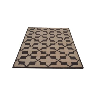 Bill Geometric Hand-Tufted Wool Beige/Brown Area Rug