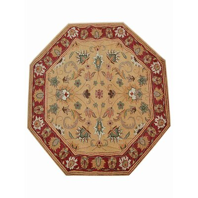 Billingsley Vintage Hand-Tufted Wool Gold/Red Area Rug Rug Size: Round 6