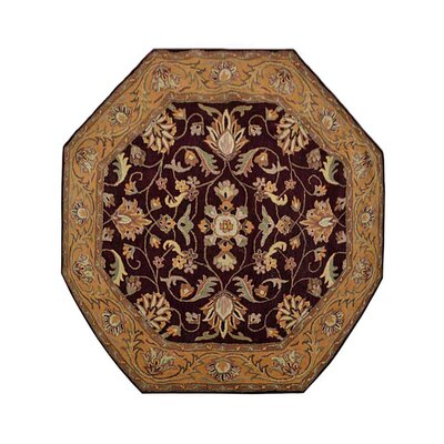 Biloxi Vintage Hand-Tufted Wool Brown/Gold Area Rug Rug Size: Octagon 8 x 8