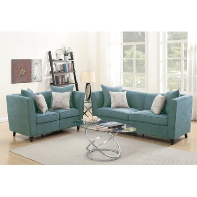 Holdren 2 Piece Living Room Set Upholstery: Hydra Blue