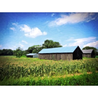 'CT River Barns in Field' Graphic Art Print on Canvas