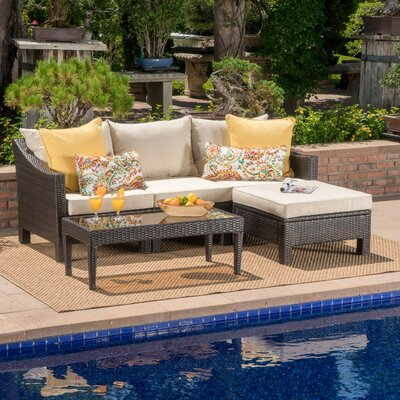 Harpersfield Outdoor 5 Piece Rattan Sectional Set with Cushions