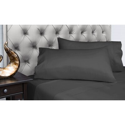Dejuan Organic 4 Piece 200 Thread Count 100% Cotton Sheet Set Size: King, Color: Charcoal