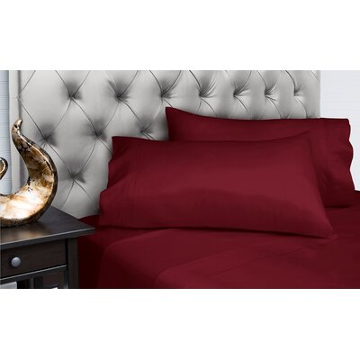 Dejuan Organic 4 Piece 200 Thread Count 100% Cotton Sheet Set Size: Full, Color: Wine