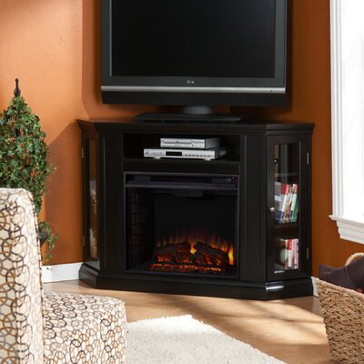 Dunminning Corner TV Stand with Fireplace Finish: Black
