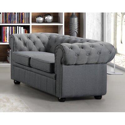 Mikkelson Chesterfield Loveseat Upholstery: Dark Gray