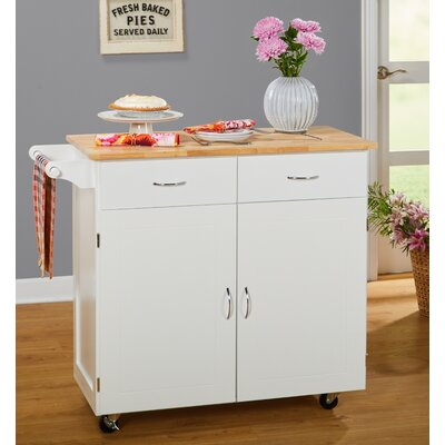 Sammons Kitchen Island with Wood Top Base Finish: White