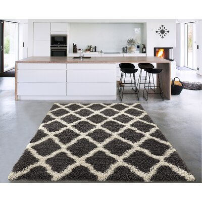 Danby Charcoal Gray/Cream Area Rug Rug Size: Rectangle 33 x 5