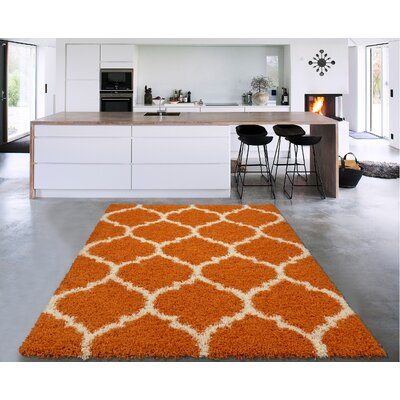 Danby Trellis Orange/Ivory Area Rug Rug Size: Rectangle 53 x 7