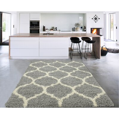 Danby Trellis Gray/Ivory Area Rug Rug Size: Rectangle 53 x 7