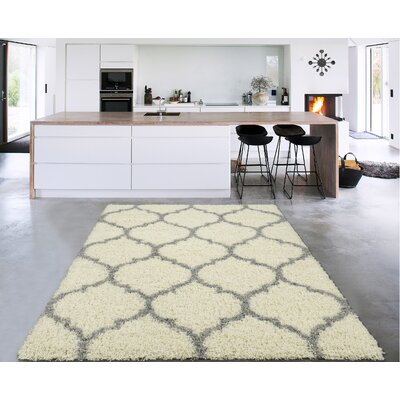 Danby Trellis Ivory/Gray Area Rug Rug Size: Rectangle 53 x 7