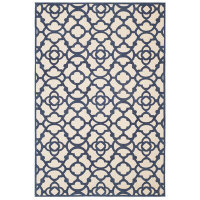 Quentin Road Ivory & Navy Area Rug Rug Size: 4 x 6