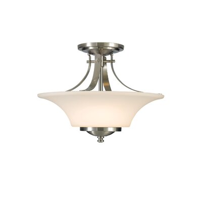 Pompton 2-Light Semi Flush Mount Finish: Brushed Steel, Size: 11.5 H x 15 W x 15 D