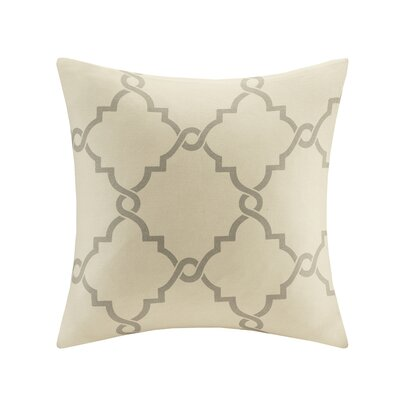 Allard Fretwork Throw Pillow Color: Beige