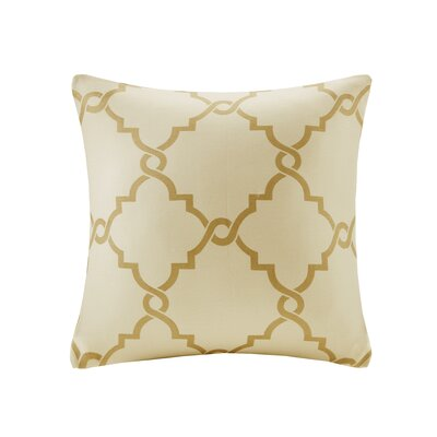 Allard Fretwork Throw Pillow Color: Beige/Gold