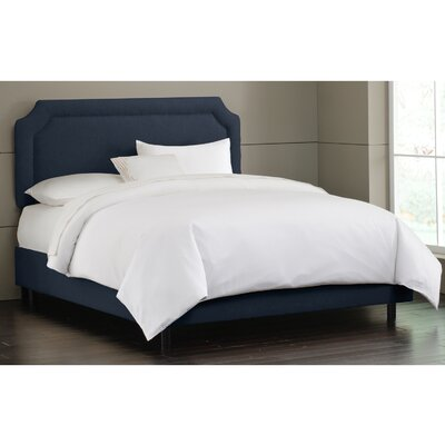 Millgrove Upholstered Panel Bed Size: Twin, Color: Linen Navy
