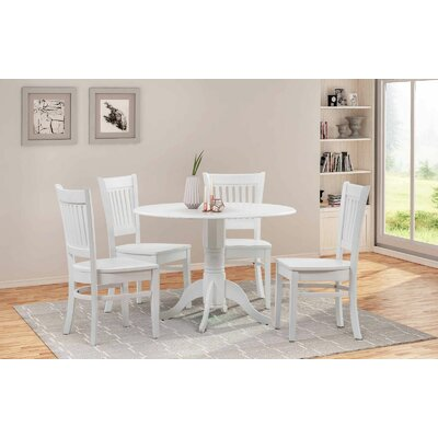 Thornhill 5 Piece Drop Leaf Dining Set Color: White