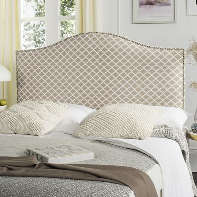 Carol Queen Upholstered Panel Headboard Upholstery: Peach Pink & White