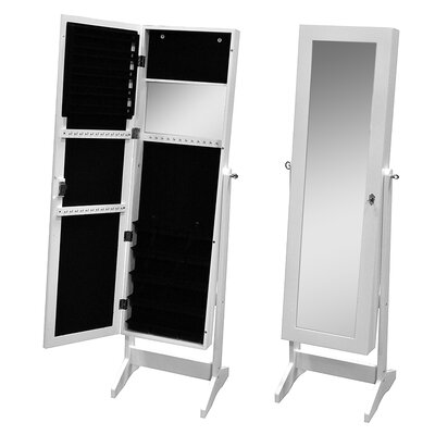 Pritchard Free Standing Jewelry Armoire with Mirror Finish: White
