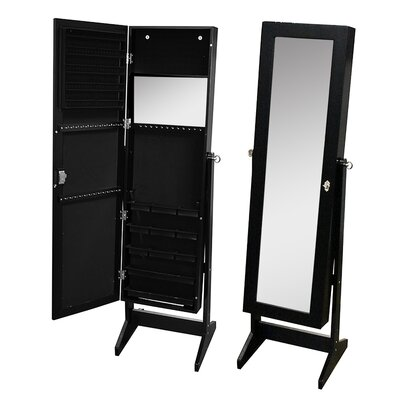 Pritchard Free Standing Jewelry Armoire with Mirror Color: Black
