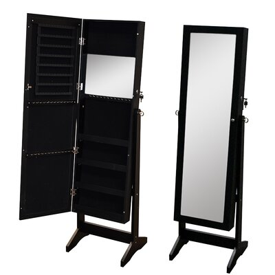 Pritchard Free Standing Wood Jewelry Armoire with Mirror Color: Black