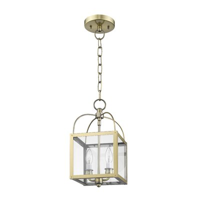 Brundidge Convertible 2-Light Foyer Pendant Finish: Antique Brass, Glass Type: Clear