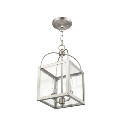 Brundidge Convertible 2-Light Foyer Pendant Finish: Brushed Nickel, Glass Type: Clear