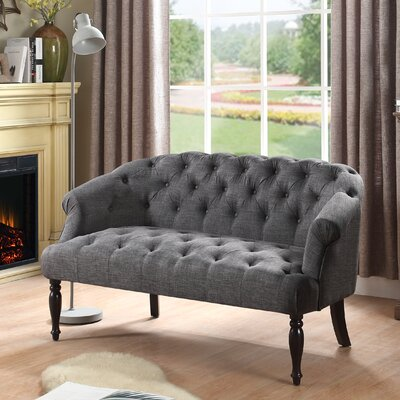 Garner Chesterfield Loveseat Upholstery: Gray