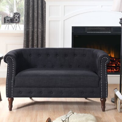Edmeston Chesterfield Loveseat Upholstery: Charcoal