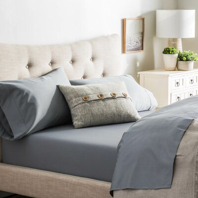 Crissman 600 Thread Count Sateen Sheet Set Size: Twin, Color: Slate
